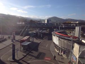 Guten Morgen aus Freiburg! Mein Blick aus dem Hotelzimmer... Der Hauptbahnhof steht still - Lokführerstreik! (Foto: twitter.com/AndiErnst)