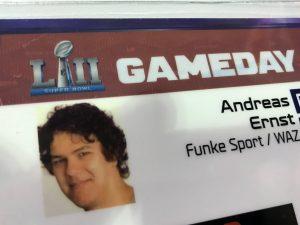 Meine Super-Bowl-Akkreditierung.