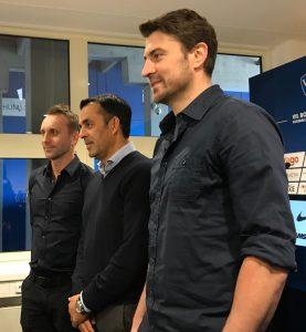 Sebastian Schindzielorz (v.l.), Robin Dutt und Heiko Butscher.