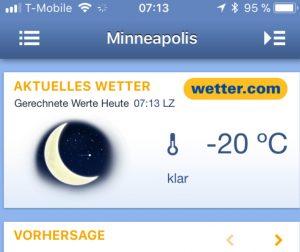 Der erste Blick auf die Wetter-App.