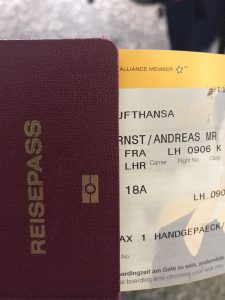 Der erste Flug: Frankfurt nach London/Heathrow.