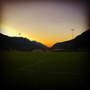 Sonnenuntergang nach dem Training am späten Nachmittag.