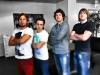 Die DerWesten-Viererkette während der EM 2012 mit (v.l.) David Nienhaus, Christian Kleber, mir und Dirk Hein.